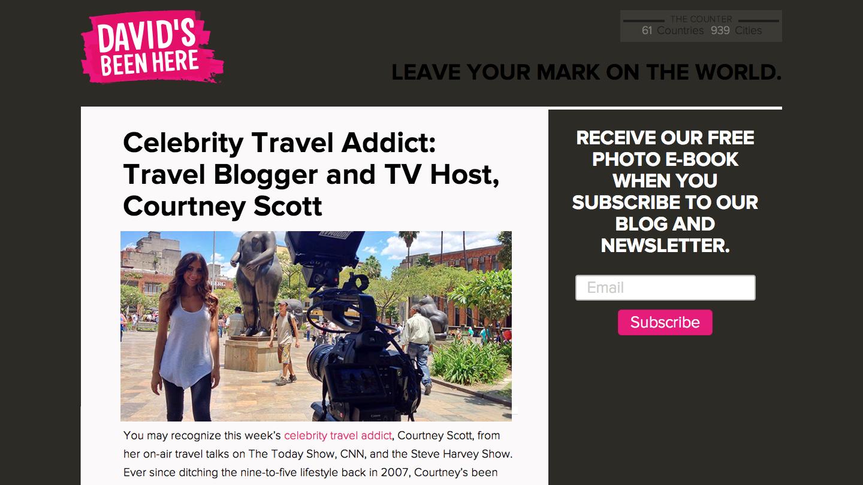David's Been Here – Celebrity Travel Addict