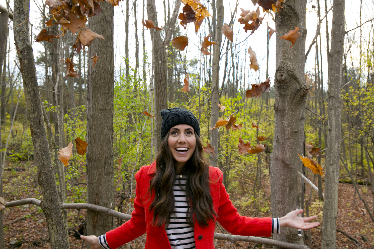 Courtney Red Coat Leaves