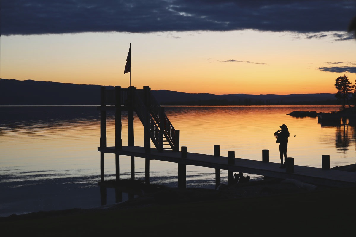 Sunset at Flathead lake lodge