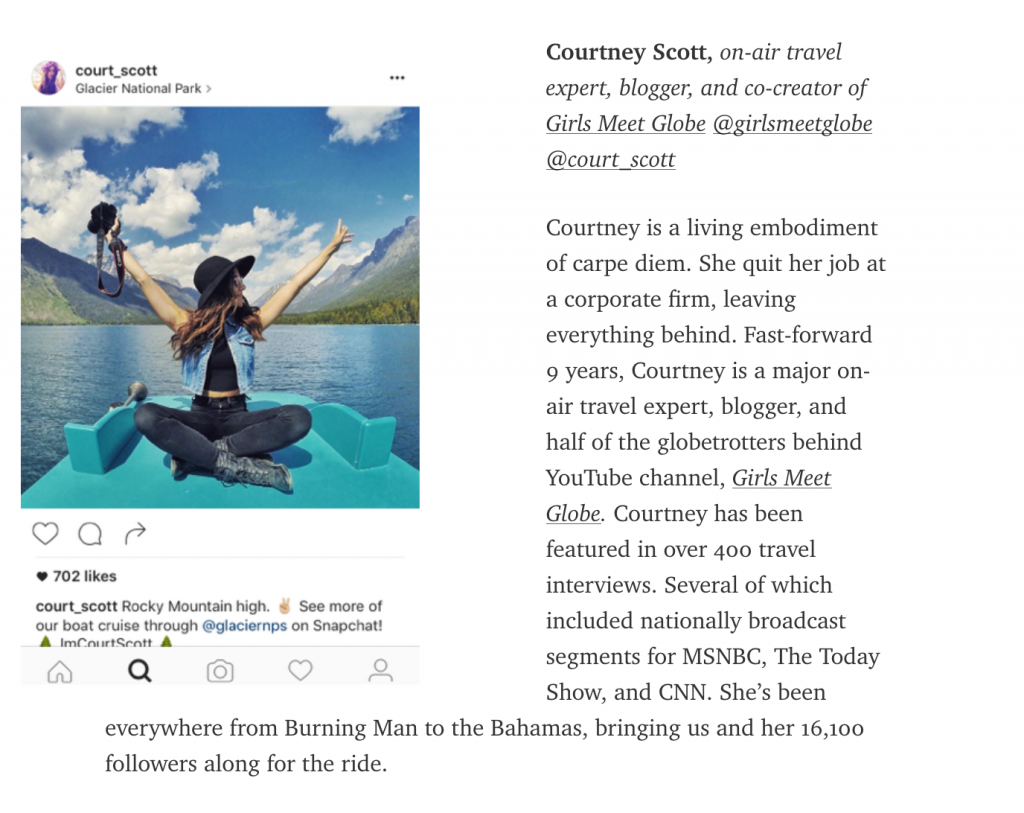 Travel Influencer to Follow Courtney Scott Bloglovin